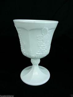 "Vintage Indiana Colony Harvest Milk Glass Paneled Grape Goblet 5 3/8"" tall"
