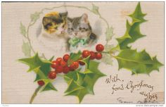 100% Silk : Two cats & Christmas holly , PU-1907 - Delcampe.com