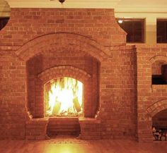 News from Inglenook Tile they found a huge, walk-in fireplace, covering the entire back wall. Description from bricklaminatepicture.blogspot.com. I searched for this on bing.com/images