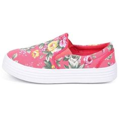 LEXI CORAL FLORAL SLIP ON SNEAKER FLAT ($11) ❤ liked on Polyvore featuring shoes, coral flats, coral shoes, floral wedge shoes, flat pumps and flat wedge shoes