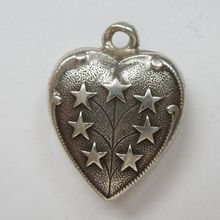 """Smaller Sterling Silver Puffy Heart Charm - Star Tree """"Zach"""""""