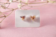 Real flowers epoxy resin earrings blue petals minimalist | Etsy