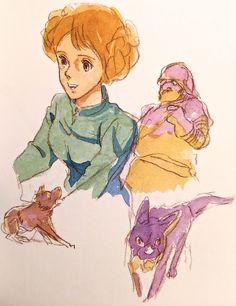 Early History of Nausicaa ===== Miyazaki was fascinated with Beauty & the Beast. This shifted to a princes in a castle with a crazy father, connected with the concept of the Windrider, & eventually became Nausicaa ===== Notes: By this time, the story had taken on a very different shape. The princess was still shouldering the destiny of her country, but the heroine's appearance was beginning to change, evolving into Yara, Wind Master.
