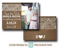 Burlap and Lace Wedding Save the Date with Photo- Rustic Invitation Suite- Printable File for the DIY Bride. Click through to find matching games, favors, thank you cards, inserts, decor, and more. Or shop our 1000+ designs for all of life's journeys. Weddings, birthdays, new babies, anniversaries, and more. Only at Aesthetic Journeys