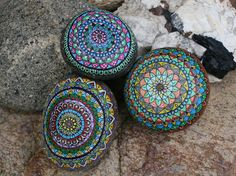 Hand Painted River Stone Mandala by HiddenHorseRocks on Etsy