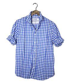 Blue gingham check shirt