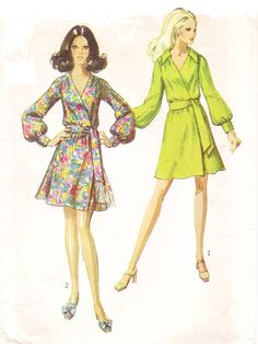 1960s Simplicity Sewing Pattern 8538 Womens Mod Front Wrap Dress with Sash Size 12 Bust 34