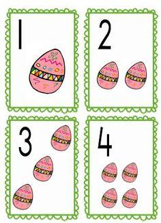 cijferkaartjes pasen lesidee kleuters Easter Activities For Kids, Crafts For Kids, Preschool Math, Kindergarten, Numicon, Easter Printables, Exercise For Kids, Easter Crafts, Easter Eggs