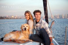 Having a photography business in San Diego has its perks! What a fun engagement shoot on a boat on the bay with the couple and their dog!