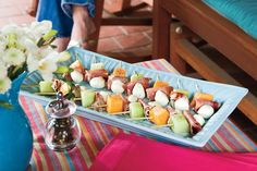 Melon, Mozzarella, and Prosciutto Skewers - Healthy Appetizer Recipes - Southernliving. Alternate honeydew and cantaloupe for a colorful platter of Melon, Mozzarella, and Proscuitto Skewers.  Recipe:Melon, Mozzarella, and Proscuitto Skewers
