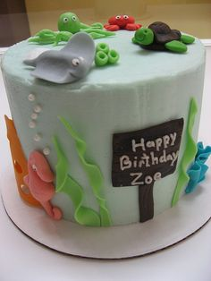 Love this cute Under the Sea party birthday cake!