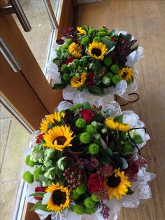 Yellow Sunflower Wedding Thank You Hand-Tie Bouquets | Perfect to give as a gift to a friend, family or colleague to brighten their day! Sunflowers add a pop of colour to every arrangement! | Triangle Nursery Ltd Wholesale Flowers & Accessories for Everyone!