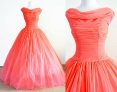 1950s Coral Chiffon and Tulle Evening Gown Cupcake Style