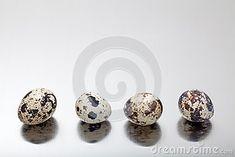 Quail eggs on gray metal background.