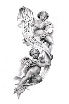 Angels tattoo design by ca5per--beautiful for passing of grandparents.: