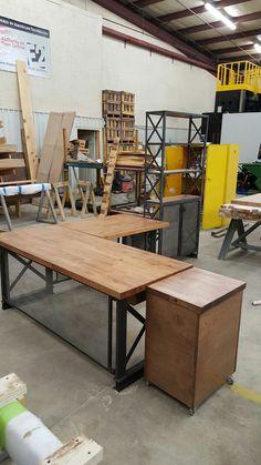 expanded metal privacy screen on the carruca desk industrialdesk industrialoffice officedesign workstations carruca desk office