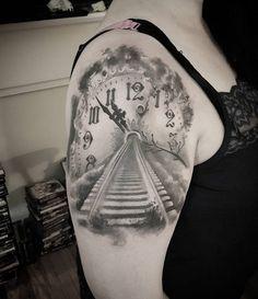 Clock train track tattoo - 100 Awesome Watch Tattoo Designs <3 <3
