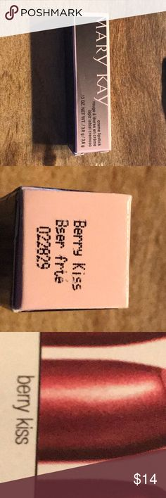 Marykay creme lipstick berry kiss (NWT) Marykay creme lipstick. Color: berry kiss. Size 0.13. Independent beauty consultant Mary Kay Makeup Lipstick