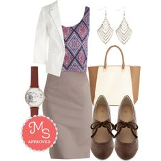 In this outfit Executive Elegance Skirt, Practice Mosaics Perfect Top,  Dapper Date Blazer in White, Optical Infusion Earrings, My Fair Latte Bag, Stacks or Fiction Heel, Follow the Wind Watch #workappropriate #businesscasual #whiteblazer
