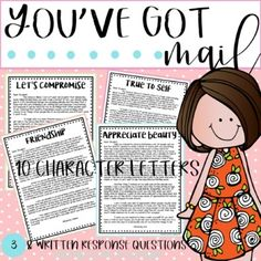 In this file you will find 10 you've got mail character letters with written response questions. These resources are great for teaching small group instruction, character education, for homework packets, and more!-PDF and Powerpoint versions available. These are not editable, but the Powerpoint file...