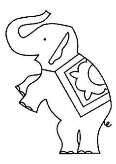 L'éléphant qui se tient debout sur ses pattes arrière, à colorier
