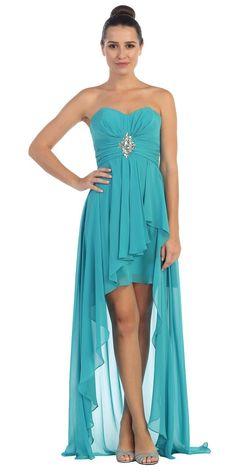 Chiffon High Low Peach Dress Strapless Rhinestone Center