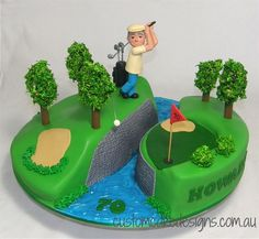 Golfing Green Cake Golfing Green Cake This 70th birthday cake was made for Howard who is a keen golfer. The design is inspired by a cake made by CakeCeraCera