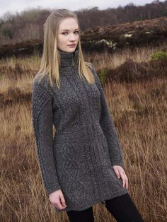 NUA ZIPPER COAT - N91 [181] - $219.95 : Irish Sweaters Aran Sweater, Irish Wool Sweaters