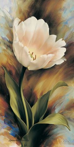 Floral art painting of a pretty pink tulip - artist? Arte Floral, Watercolor Flowers, Watercolor Paintings, Art Paintings, Tulip Painting, Oil Painting Flowers, Floral Paintings, Light Painting, Watercolours