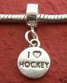 Sterling Silver I LOVE HOCKEY Charm Heart Solid 925 NEW Pendant