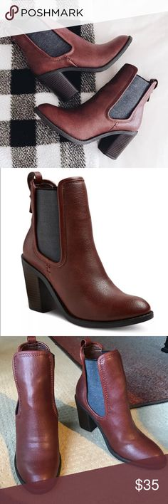 "New! ankle BOOTS BOOTIES BROWN HEELS 9 Brand new! Russet brown ankle boots with generous elastic gussets for easy use. 3.5"" chunky wood stacked stable heel, comfortable and stylish!  Sz 9. (A13) Merona Shoes Ankle Boots & Booties"