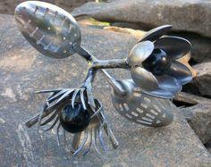 Found Object Garden Art   Flower Metal Sculpture Yard Art Gar Den Art Found  Objects Metal