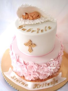 A pink and white fondant covered Christening or baby-shower cake for a girl topped with a fondant baby Christening Cake Designs, Baby Girl Christening Cake, Baby Girl Baptism, Baptism Cakes, Fondant Baby, Fondant Rose, Fondant Flowers, Birthday Cake Girls, Baby Shower Cakes