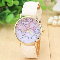 World map casual Pu leather white band woman watch