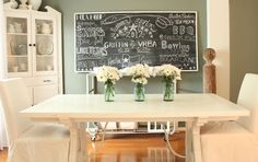 Giant chalk board brings family life to the table. Love.