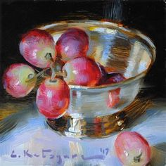 "Daily Paintworks - ""Red Globe Grapes in Silver"" - Original Fine Art for Sale - © Elena Katsyura Grape Painting, Fruit Painting, Painting Still Life, Still Life Art, Still Life Flowers, Fruit Art, Small Paintings, Pictures To Paint, Art Oil"