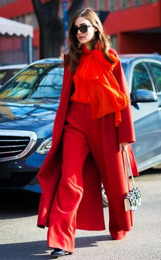 Red Coat + Orange Blouse + Red Wide-Leg Pants