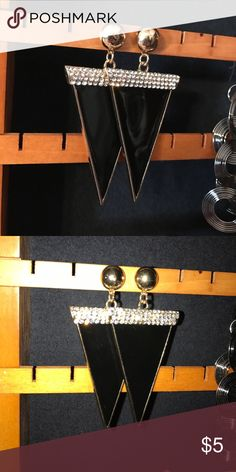 Earrings Black pointed earrings with stones and a gold stud at the top. Very good quality. Jewelry Earrings