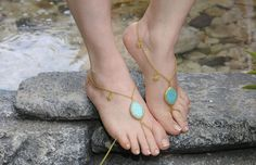 Turquoise  Goldish barefoot sandal for elegant foots by HIPPYANNE, $30.00