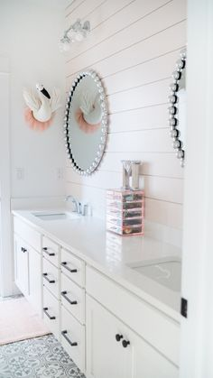 Bathroom Accent Wall, Bathroom Accents, Bathroom Kids, Bathroom Fixtures, Girl Bathrooms, Shiplap Bathroom Wall, Girl Bathroom Decor, Bathroom Trends, Bathroom Inspo
