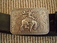 Country Western Silver Belt Buckle and by MarinaDelReyVintage, $24.95