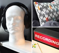 Styrofoam head for headphone storage - boys' rooms