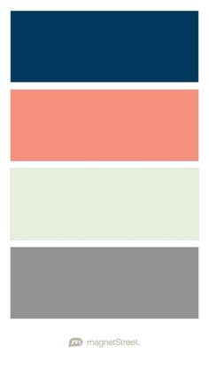 Navy, Coral, Mint, and Classic Gray Wedding Color Palette - custom color palette created at MagnetStreet.com