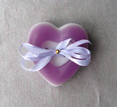 Heart soap with lilac tape lavender scent best Vday gift idea