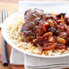 This lamb chop recipe served over hot cooked orzo flavored with a garlic and onion pasta sauce, beans, olives, and sweet peppers hails from the Mediterranean.