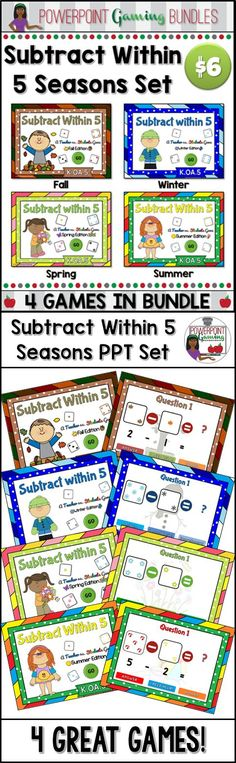 Engage students with these fun, interactive  subtracting within 5 games. In each powerpoint game, students practice subtracting numbers. Numbers range from 0 to 5. Each game has 20 questions. Great for a guided math center or rainy day activity. Great for individual practice on the iPad! Extra licenses are $4.00.