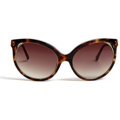 Linda Farrow Luxe Tshell Acetate Cateye Sunglasses ($477) ❤ liked on Polyvore