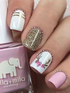 Antler nail art. Whimsical Nails. Spring Nails. Summer nails. Pink and white nail art.