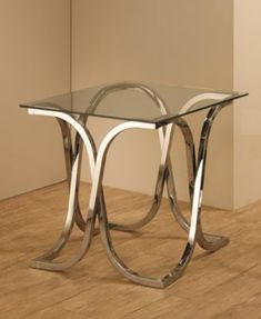 Chevy End Table with Tempered Glass Top - Silver