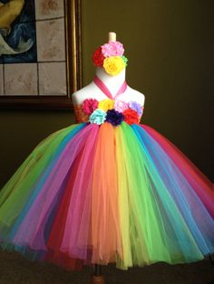Rainbow color tutu dress birthday party photo girl  baby shower  dressing up flower girl picture newborn to 8years. $49.95, via Etsy.